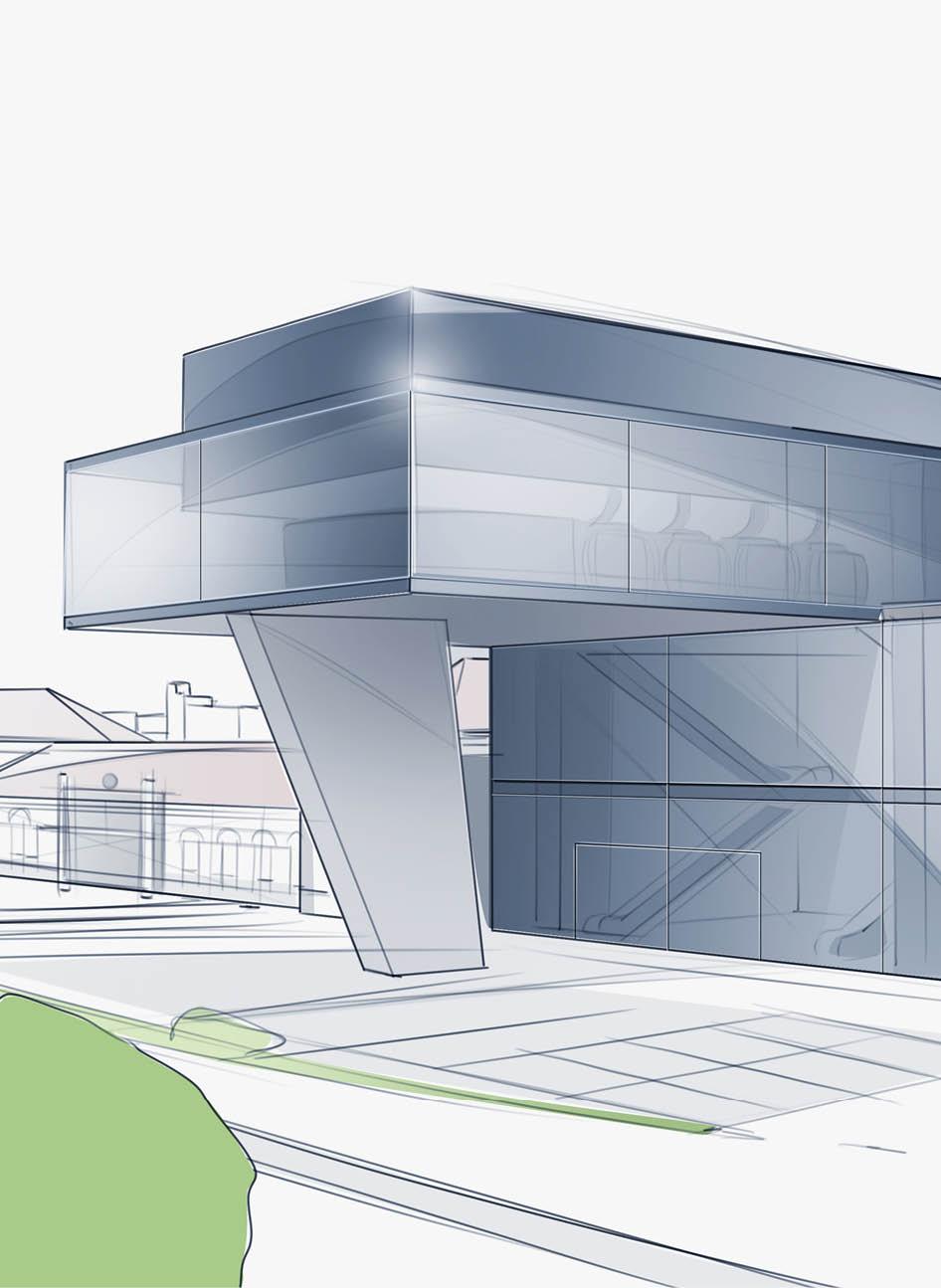 Architektur-Skizze einer Seilbahn-Station