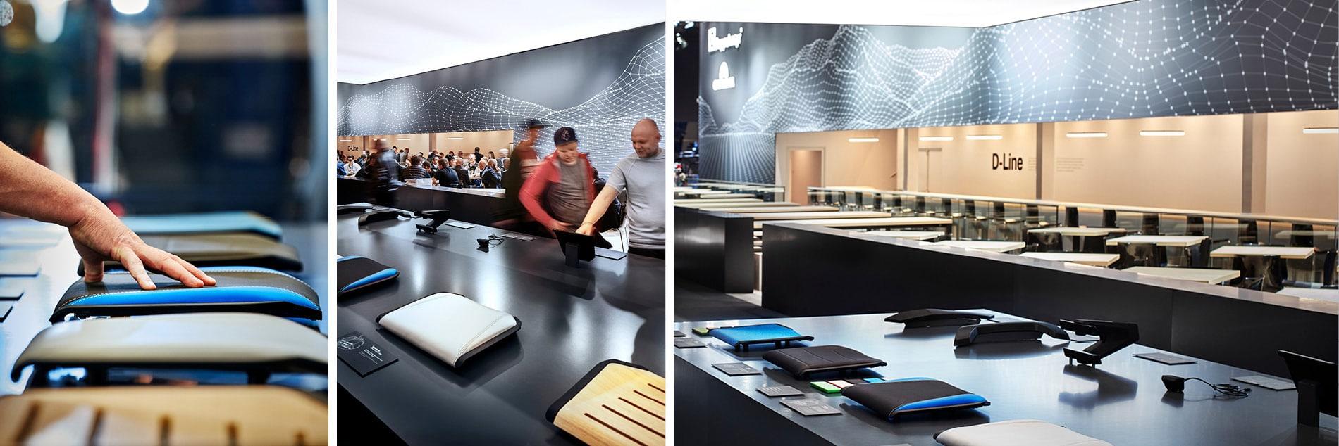 Exponate-Tisch auf Messestand von Doppelmayr auf der Interalpin