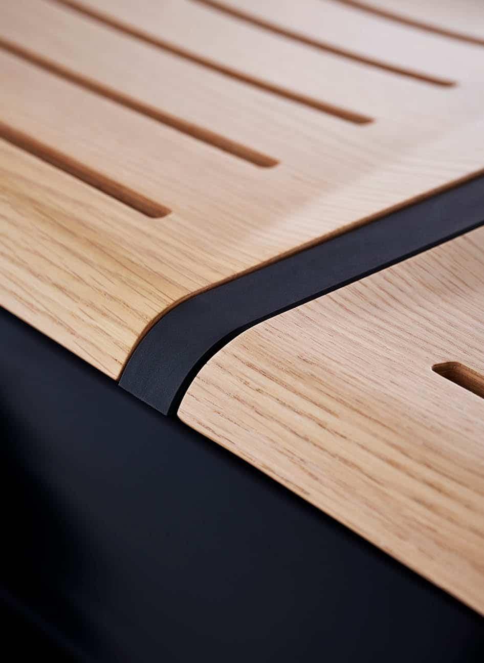 Detail zu Aussparungen in Holz-Sitz