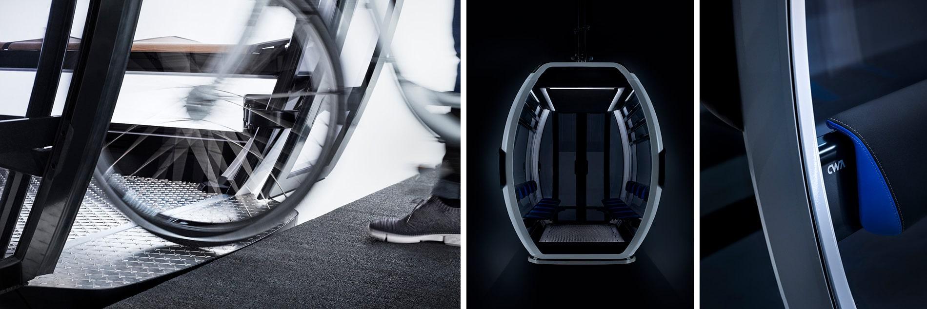 Details einer Seilbahn-Kabine OMEGA V von Doppelmayr