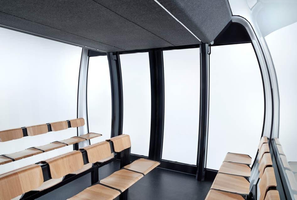 Innenraum der Seilbahn Kabine Atria von Doppelmayr