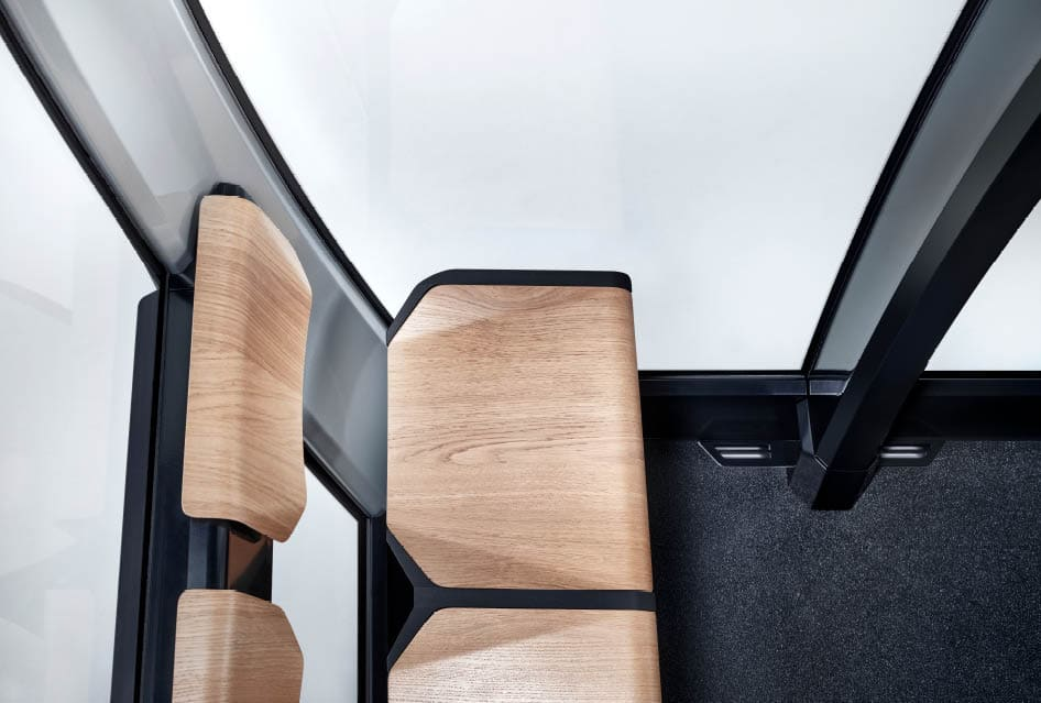 Produktdesign von Holz-Sitz einer Seilbahnkabine