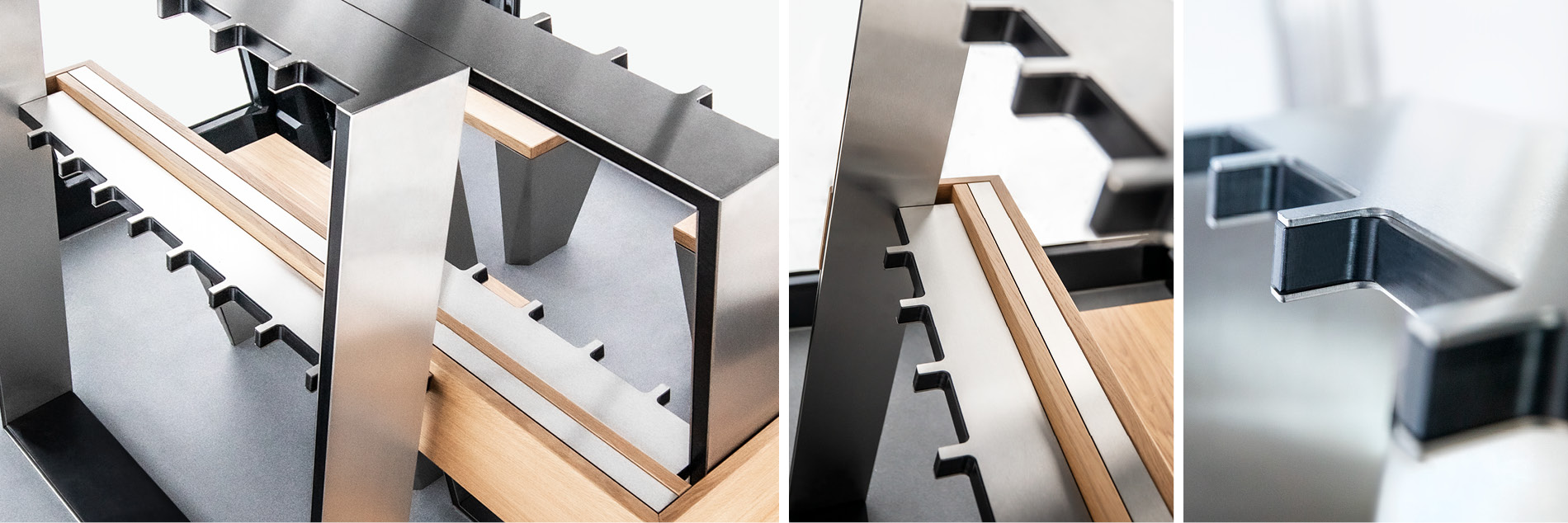 Material-Mix aus Holz und Aluminium