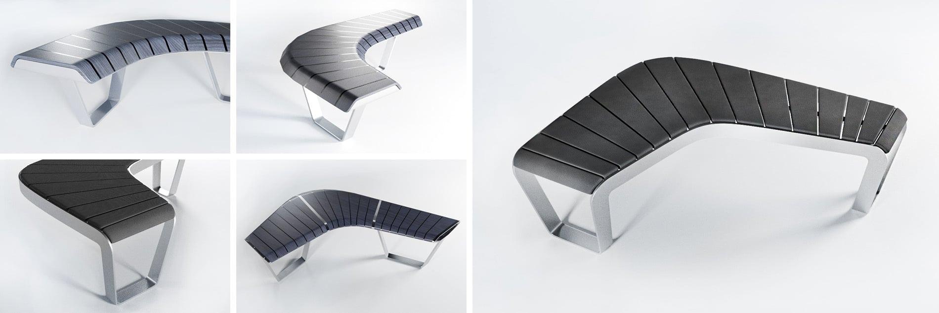 Produktdesign einer geschwungenen Sitzbank
