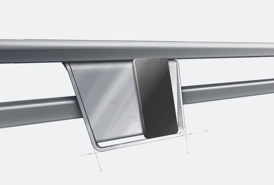 Digitale Skizze vom Produktdesign einer induktiven Ladestelle