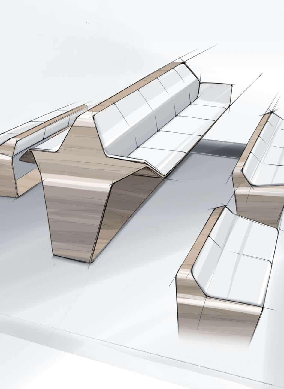 Produktdesign Skizze von Sitzbänken