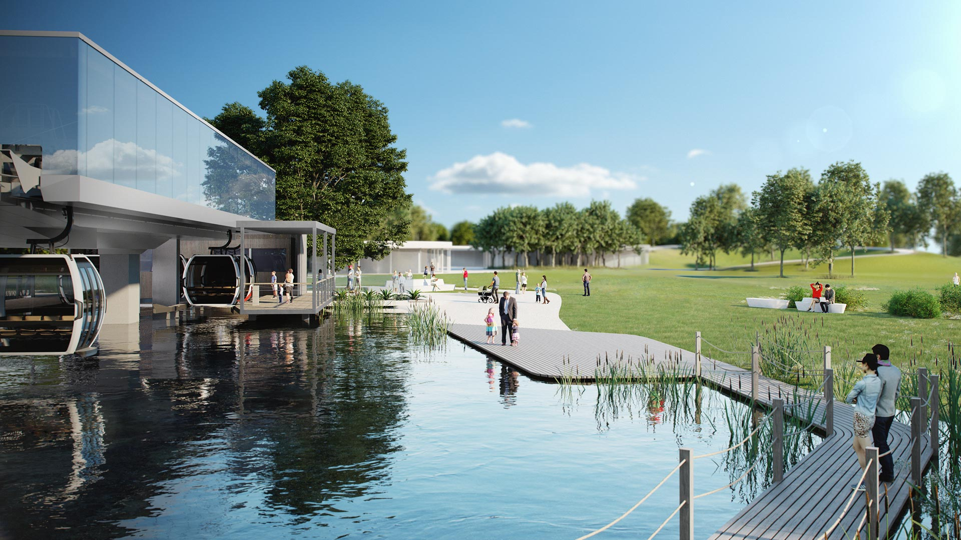 Doppelmayr cable car station above lake at Floriade 2022 in Almere