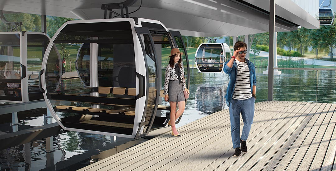 Doppelmayr cable car above lake at Floriade 2022 in Almere