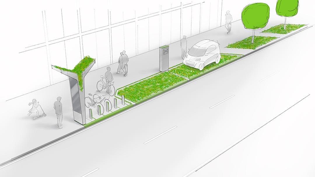 Kolorierte Skizze einer Mobilitätsstation