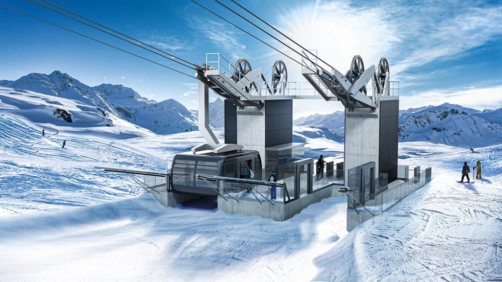 Doppelmayr Seilbahnstation im Winter