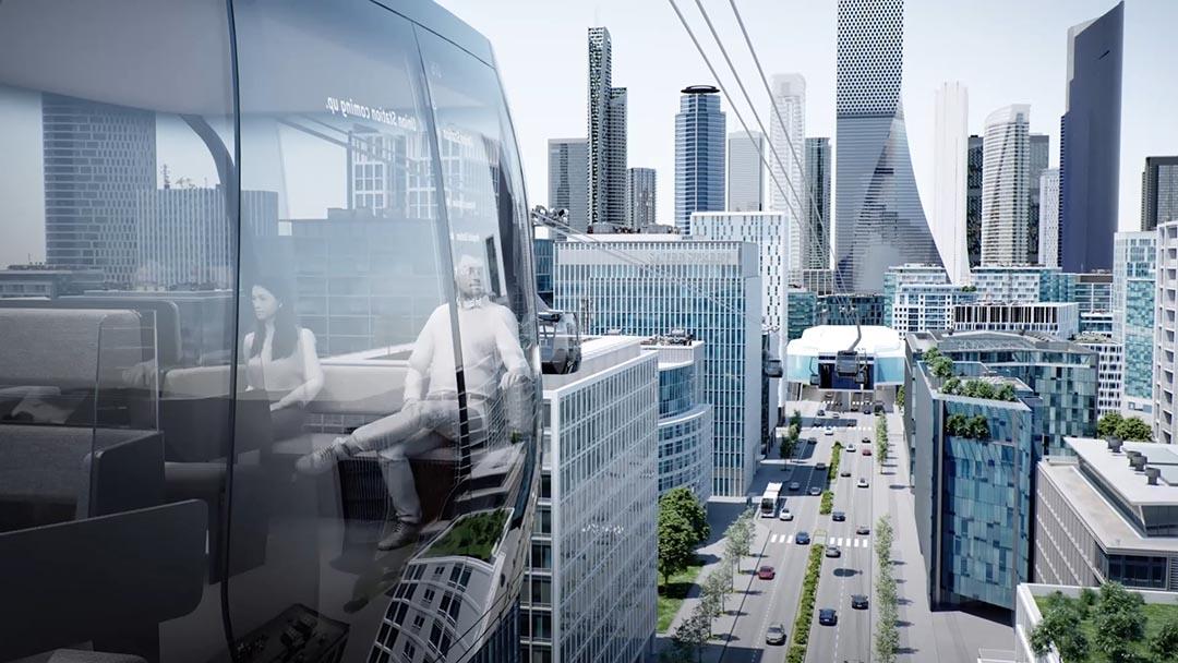 Rendering einer urbanen Seilbahn