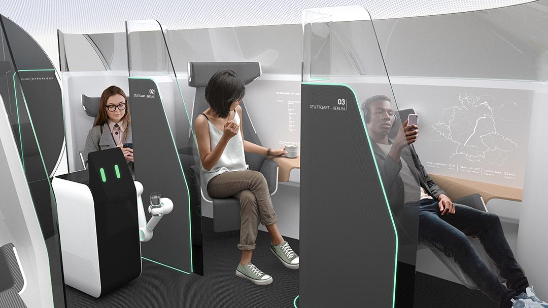 Passagiere im Innenraum eines Hyperloop Pod