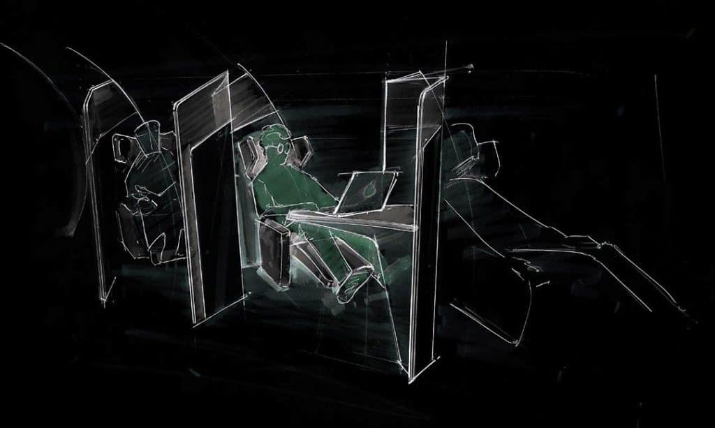 Invertierte Skizze von Sitzen in einem Hyperloop Pod