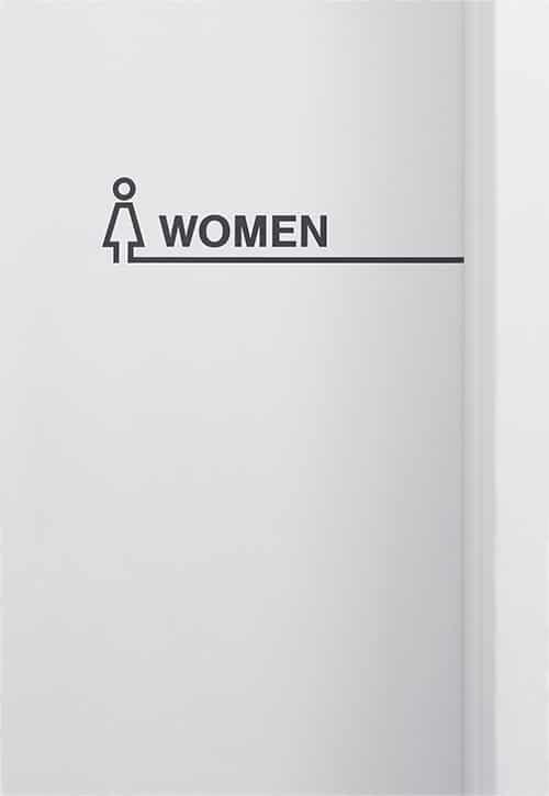 Icon und Beschriftung einer Damen-Toilette