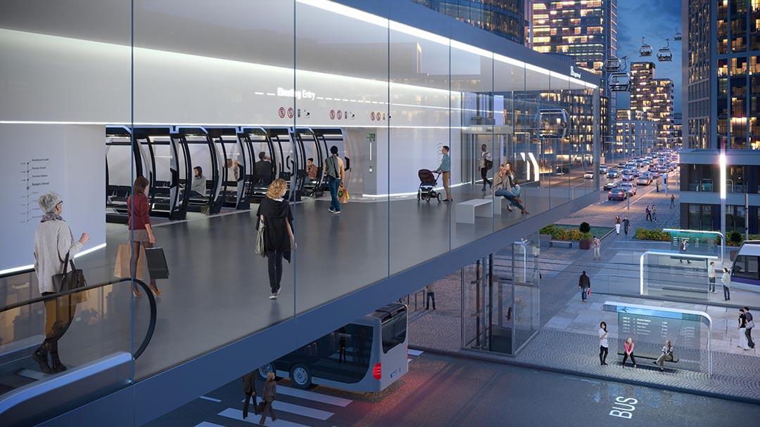 Urbane und autonome Seilbahn-Station als Rendering