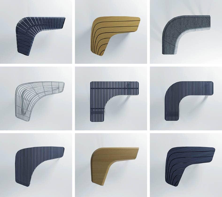 Produktdesign Varianten einer geschwungenen Sitzbank