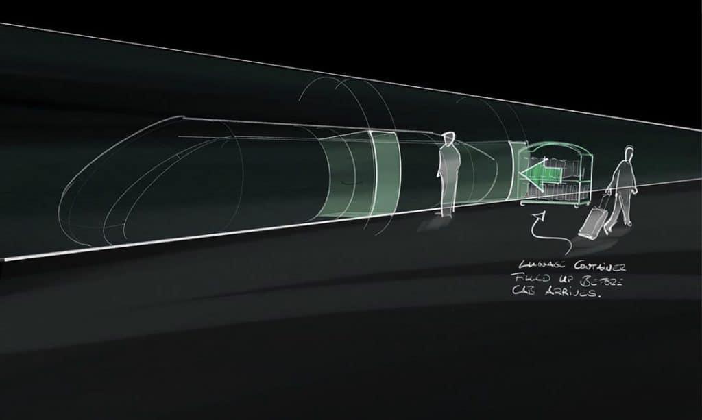 Invertierte Skizze eines Hyperloop Bahnsteig
