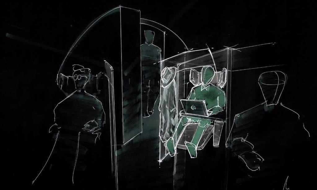 Invertierte Innenraum Skizze eines Hyperloop Pod