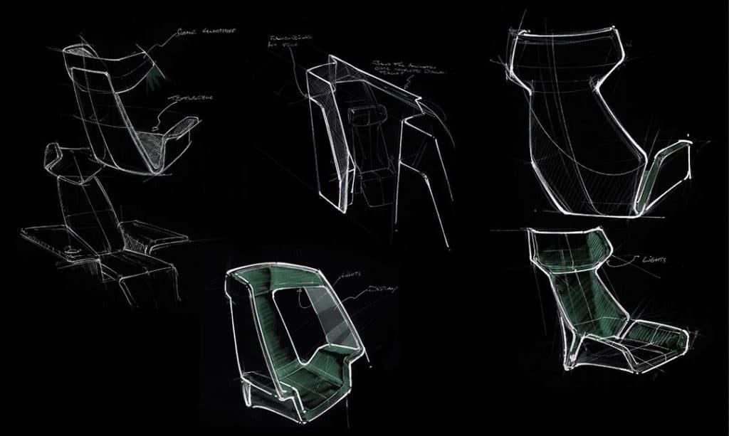 Invertierte Produktdesign Skizze von Sitz-Varianten
